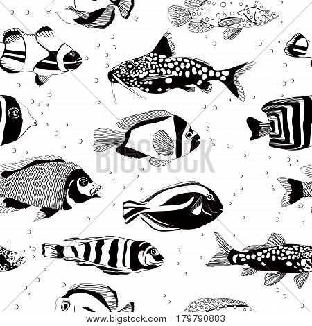 Seamless vector pattern with fish, file Eps10