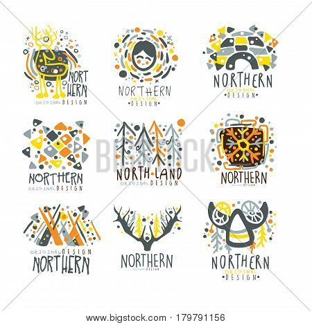 Nothern, nothern land set for label design. Nothern travel, winter sport, holidays, adventure vector Illustrations for stickers, banners, cards, advertisement, tags