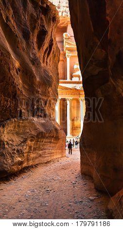 View Of Al-khazneh Temple From Al Siq In Petra