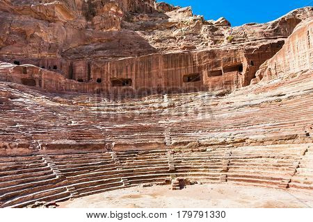Ancient Nabataean Amphitheater In Petra Town