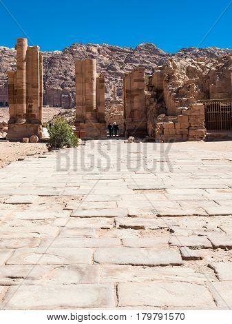 The Hadrian Gate In Petra Town In Winter