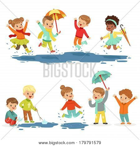 Cute smiling little kids playing on puddles, set for label design. Children having fun outdoor wearing colorful clothes. Cartoon detailed colorful Illustrations isolated on white background