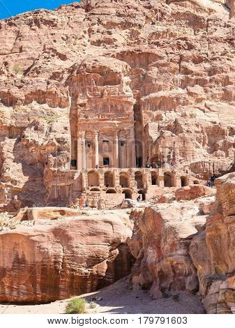 Front View Of Royal Urn Tomb In Ancient Petra City