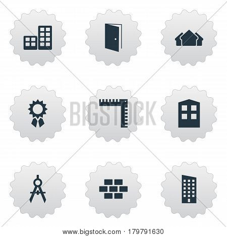 Vector Illustration Set Of Simple Construction Icons. Elements Shelter, Gate, Length And Other Synonyms Premises, Wall And Shelter.