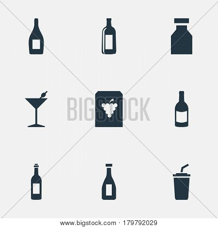 Vector Illustration Set Of Simple Beverage Icons. Elements Vine, Beverage, Cocktail And Other Synonyms Flask, Fruit And Vodka.