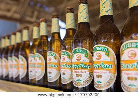 Vang Vieng, Laos - January 19, 2017: Beerlao is brewed from the best local rice and overseas high quality malt giving it a unique taste. Beerlao has become the best selling and leading brand in Laos.