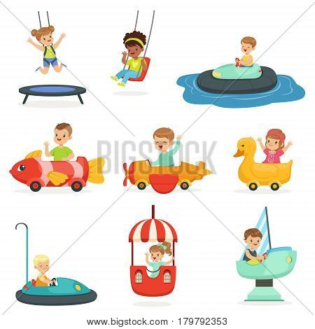 Children ride on attractions in the amusement park, set for label design. Active leisure for children. Cartoon detailed colorful Illustrations isolated on white background