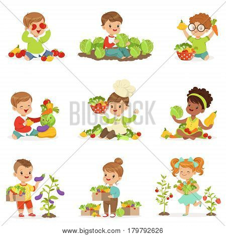 Cute little children playing, gathering and preparing vegetables, set for label design. Healthy eating, dieting, vegetarian kitchen and cooking concept. Cartoon detailed colorful Illustrations isolated on white background