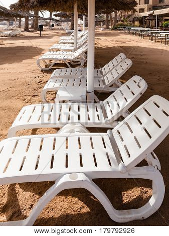 Empty Chairs On Beach In Aqaba City In Winter
