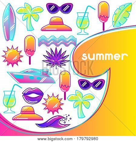 Background with stylized summer objects. Abstract illustration in vibrant color.