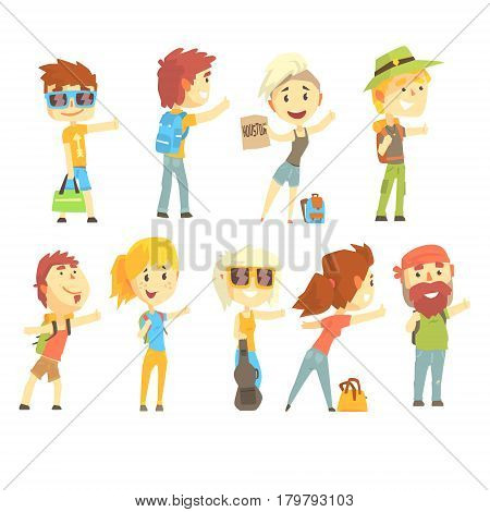 Hitch hike traveler person, set for label design. Travel hitchhiking concept. Cartoon detailed colorful Illustrations isolated on white background