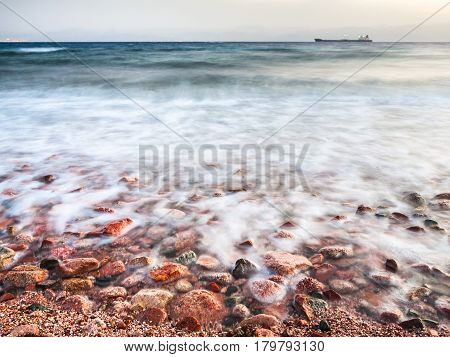 Coastline Of Gulf Of Aqaba On Red Sea In Evening