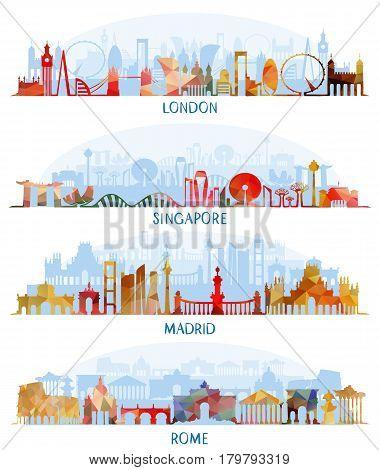 Vector illustration of Skyline flat set (London Singapore Madrid Rome)