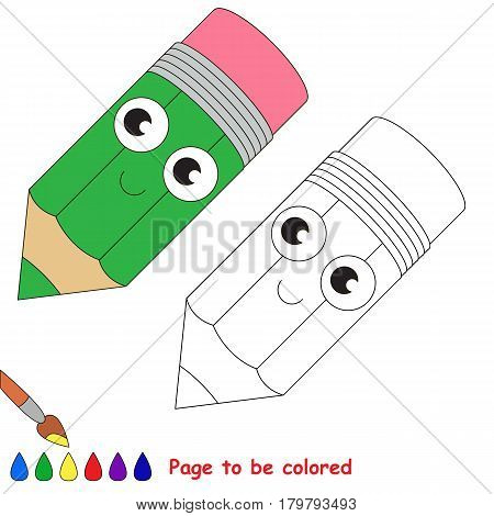 Funny Beautiful Green Pencil to be colored, the coloring book for preschool kids with easy educational gaming level.