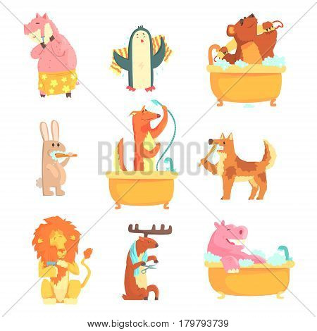 Cute animals bathing and washing in water, set for label design. Hygiene and care, cartoon detailed Illustrations isolated on white background