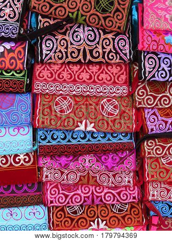 Traditional souvenirs - Kazakh ethnic handbags in street market in Almaty Kazakhstan