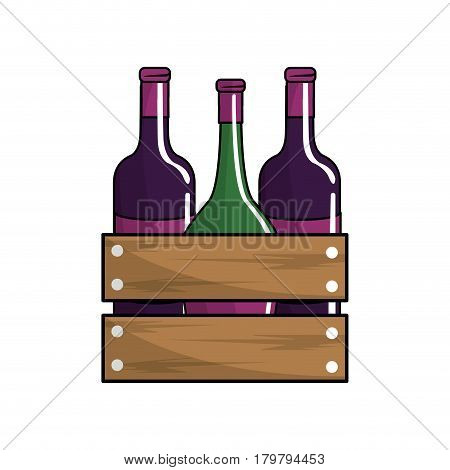 wine bottles taste beverage, vector illustration design