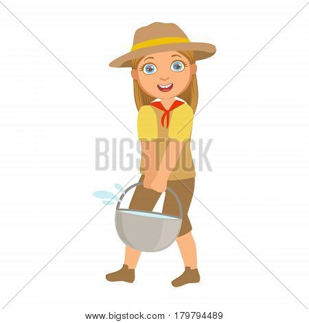 Scout girl dressed in uniform and holding tourist kettle, a colorful character isolated on a white background