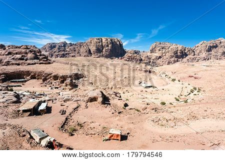 Above View Of Bedouin Camp In Ancient Petra Town