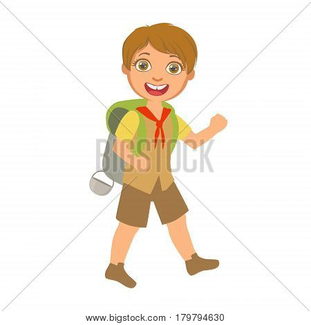 Smiling boy scout carrying a tourist backpack, a colorful character isolated on a white background