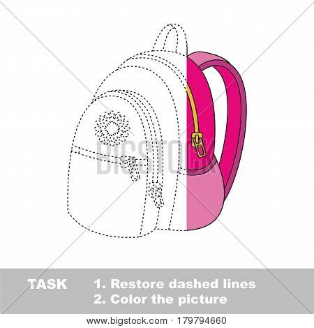 Pink Backpack. Dot to dot educational game for kids, task is to trace and color the colorless half.
