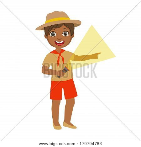 Young boy scout holding a flashlight, a colorful character isolated on a white background