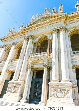 The fasade of basilica di san giovanni in laterano at sunny day