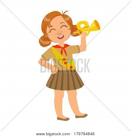 Little scout girl dressed in uniform and holding trumpet, a colorful character isolated on a white background , a colorful character isolated on a white background
