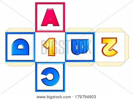 Paper cube schemes for English letters and numbers A-B-C-D-1-2