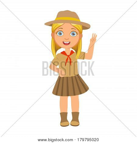Girl scout raising her hand up and showing number three, a colorful character isolated on a white background