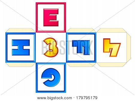 Paper cube schemes for English letters and numbers E-F-G-H-3-4
