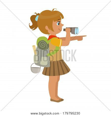 Girl scout carrying a backpack and looking through binoculars, side view, a colorful character isolated on a white background