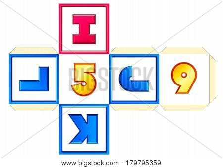 Paper cube schemes for English letters and numbers I-J-K-L-5-6