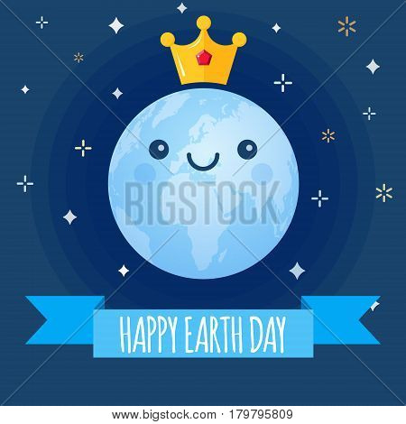 Earth Day vector background. Cartoon globe with golden crown and stars. Cute cheerful smiling planet. Illustration for April 22 celebration. Support for environmental protection ecology theme