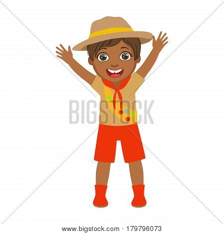 Happy scout boy raising her arms up, a colorful character isolated on a white background