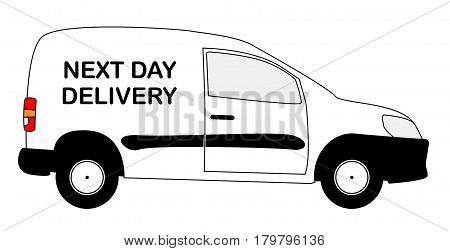 A small white next day delivery van with copy space isolated on a white background