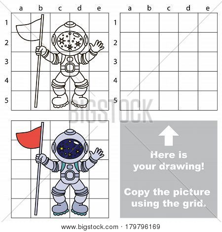 Copy the picture using grid lines, the simple educational game for preschool children education with easy gaming level, the kid drawing game with Astronaut