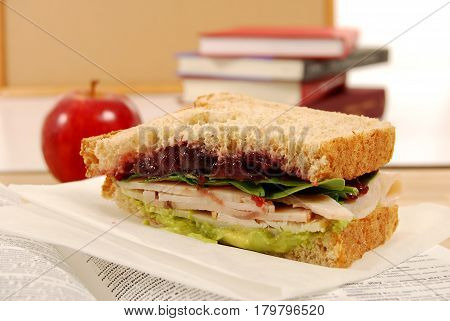 School lunch of turkey sandwich with apple