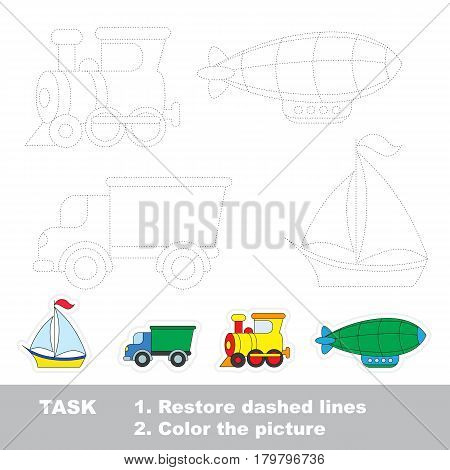 Yacht and lorry and train locomotive and zeppelin, the Transport tracing set. Dot to dot educational game for kids.