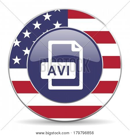 Avi file usa design web american round internet icon with shadow on white background.