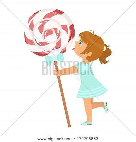 Beautiful little girl with huge lollipop, a colorful character isolated on a white background