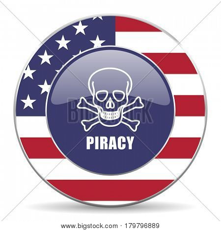 Piracy skull usa design web american round internet icon with shadow on white background.