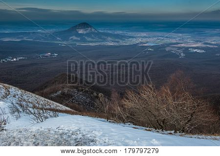 Mountain Beshtau at spring in Pyatigorsk, Russia.