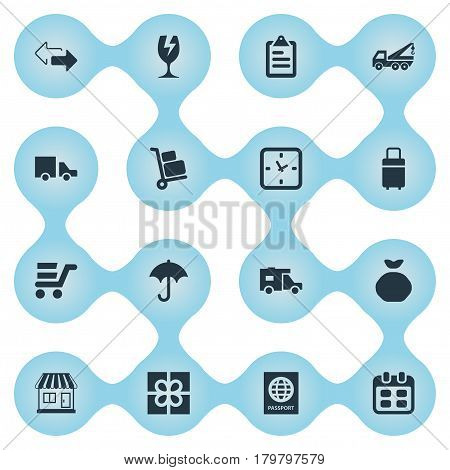 Vector Illustration Set Of Simple Carting Icons. Elements Packaging, Clipboard, Van And Other Synonyms Opposite, Shop And Directions.