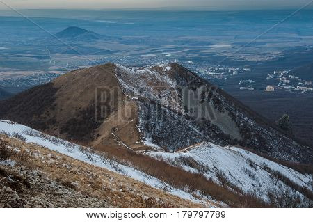 Mountain Beshtau at spring in Pyatigorsk, Russia.