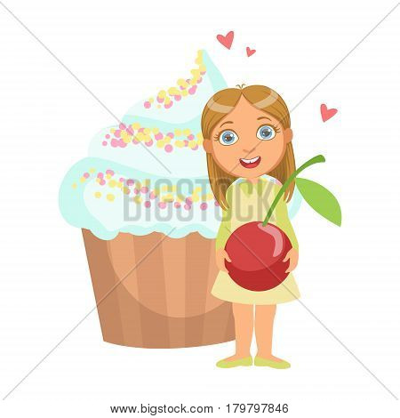 Happy young girl standing nearby a huge capkake and holding a cherry in her hands, a colorful character isolated on a white background