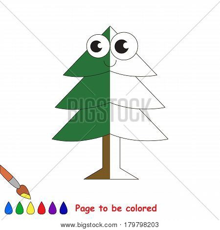 Evergree Tree, the coloring book to educate preschool kids with easy gaming level, the kid educational game to color the colorless half by sample.