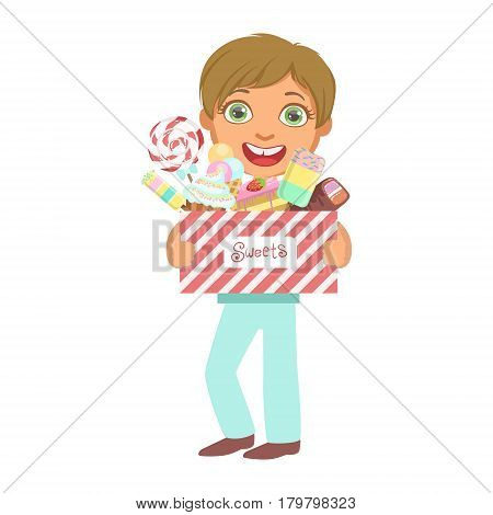 Cute little boy carrying a box of sweets, a colorful character isolated on a white background