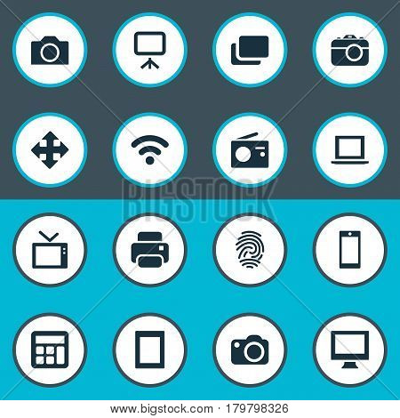 Vector Illustration Set Of Simple Technology Icons. Elements Television, Photocopier, Fingerprint And Other Synonyms Laptop, Display And Printer.