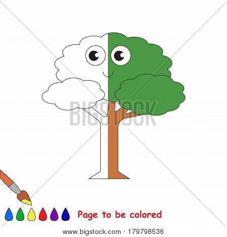 Leaf Tree, the coloring book to educate preschool kids with easy gaming level, the kid educational game to color the colorless half by sample.